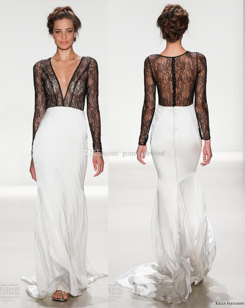 Black And White Long Sleeves Sheath Wedding Dresses 2018 Kelly ...