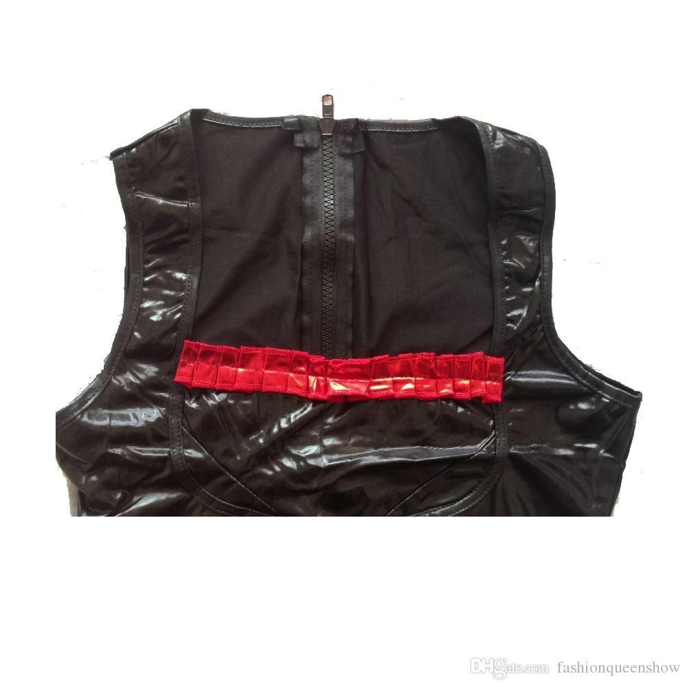 Sexy Low Cut Women's Wetlook Catsuit 2 Way Zipper Sleeveless Jumpsuit Faux Leather Bodysuit With Red Stripe Pole Dancing Clubwear
