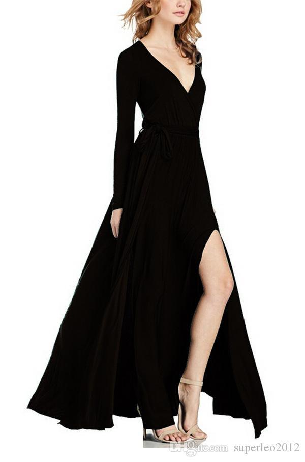 Yeni Moda Kadınlar Pamuk Katı Uzun Elbise Bohemian Derin V Boyun Uzun Kollu Maxi Elbise Kemer İpli Uzun Maxi Elbise Kat Uzunluk YD1096