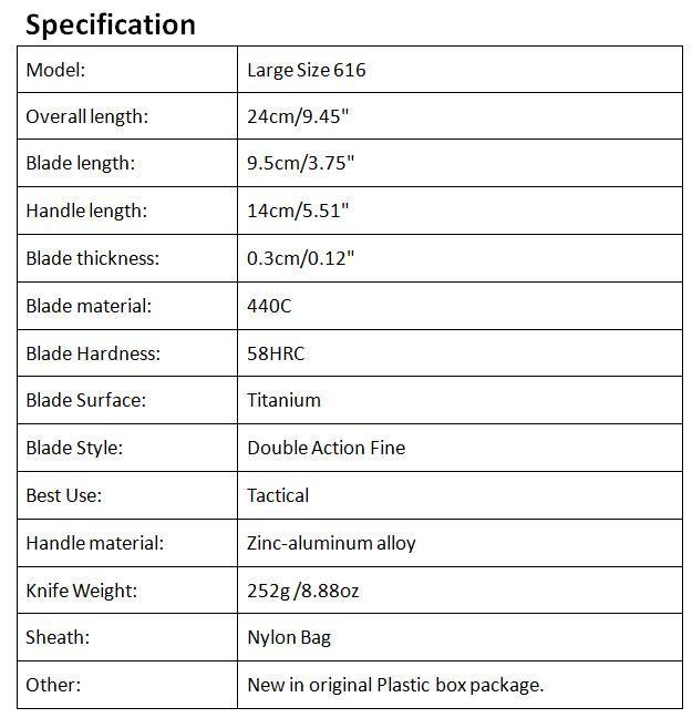 Top Quality Large Size 616 Auto Tactial Knife 440C Double Action Fine Titanium Blade Outdoor Survival Tactical Gearz EDC Tool