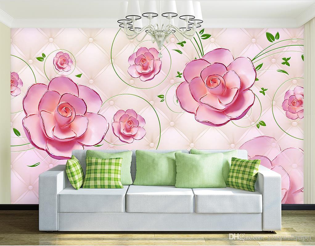 Foto benutzerdefinierte jede Größe Soft Tasche stieg Muster Wandbild 3d wallpaper 3d Tapeten für TV Hintergrund