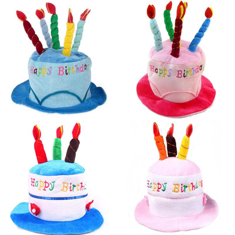 Wholesale Pink Blue Birthday Cake Cap Hat Candles Caps Kids Adults Head Decoration Party Supplies Hats From
