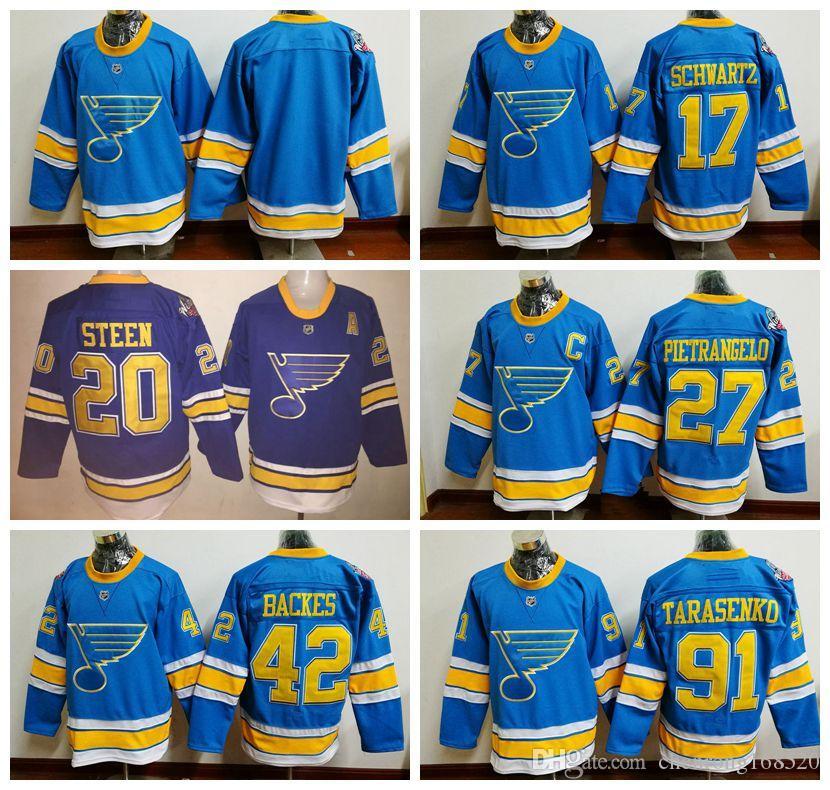 2018 2017 Winter Classic St. Louis Blues Hockey 27 Alex Pietrangelo 91  Vladimir Tarasenko 42 David Backes 20 Steen 17 Jaden Schwartz Jerseys From  ... 2000b0aab