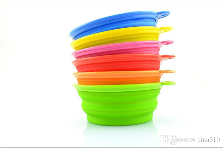 패션 환경 개 고양이 애완 동물 식품 UP 접을 수있는 그릇 플라스틱 실리콘 접이식 휴대용 그릇 피더 IA032 먹이 여행 그릇
