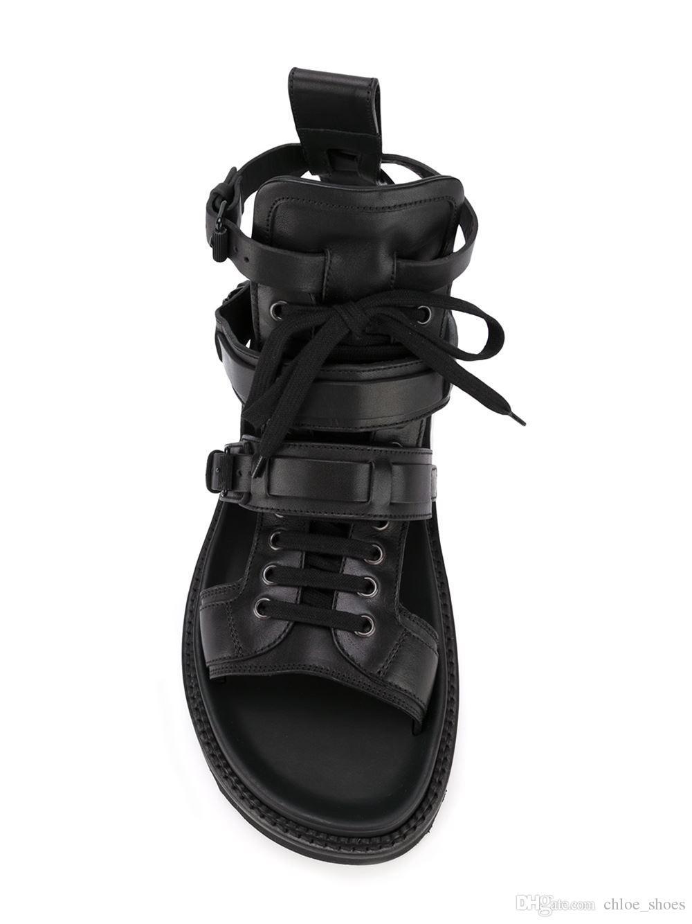 Alta top de Couro Genuíno Roma Gladiadores para homens Lace up Strappy Sandálias Pretas Moda Sapatos Casuais Hombre Sapatos 2017
