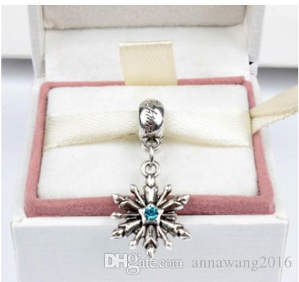 Fits Pandora Sterling Silver Bracelet Snowflake Crystal Dangle Beads Charms For Diy European Style Snake Charm Chain Fashion DIY Jewelry