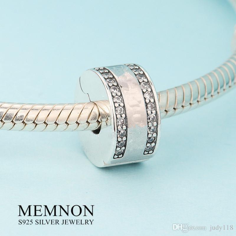 Nueva colección de primavera Insignia clip de perlas encantos de plata esterlina 925 encantos pulseras de los granos DIY joyería fina Memon KT070