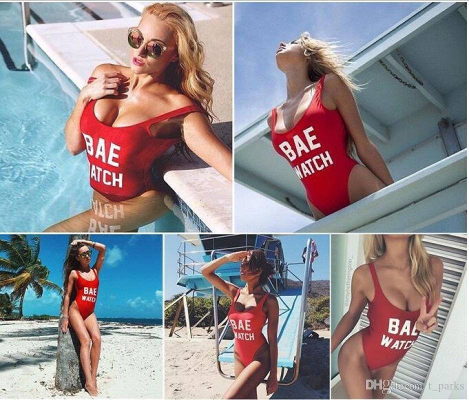 Fashion Bodysuit Sexy Backless BAE WATCH One-Piece Swimsuit Cut Out Beach Swimwear Swimming Suit For Women Monokini Bathing Suits