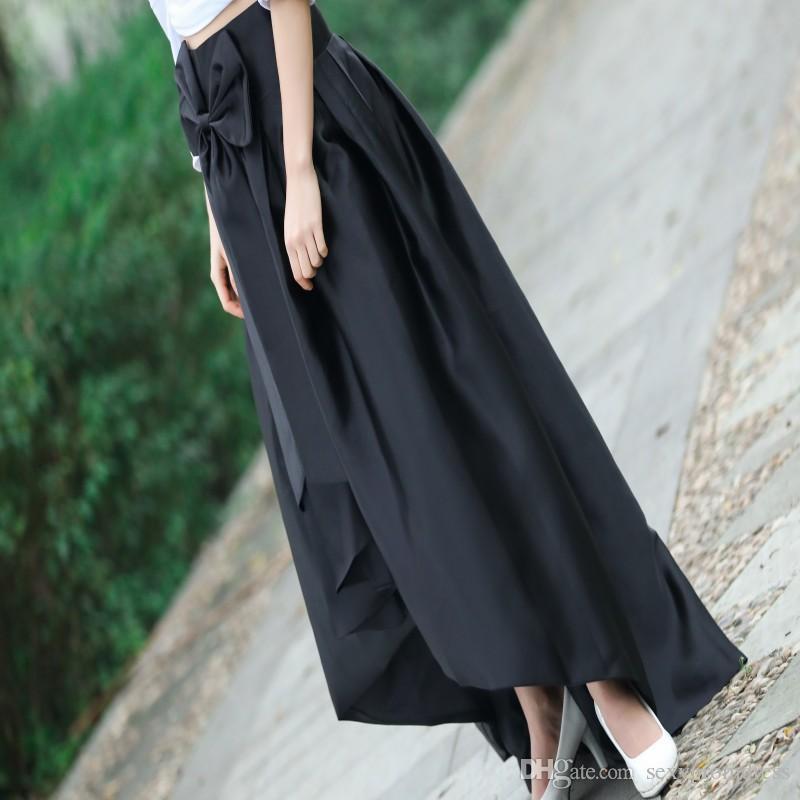 Noir Haut Bas Jupe Avec Arc Sur La Taille Nouvelle Mode Taffetas Volants Femmes Jupes Longues Pas Cher Robe De Fête Formelle Livraison Gratuite