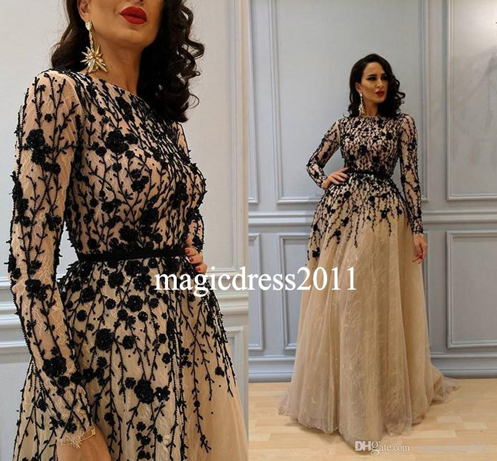 New Champagne Arabic Dubai Nigeria Evening Prom Dresses with Long Sleeve A-Line Jewel Black Beads Lace Formal Gowns Dress for Party