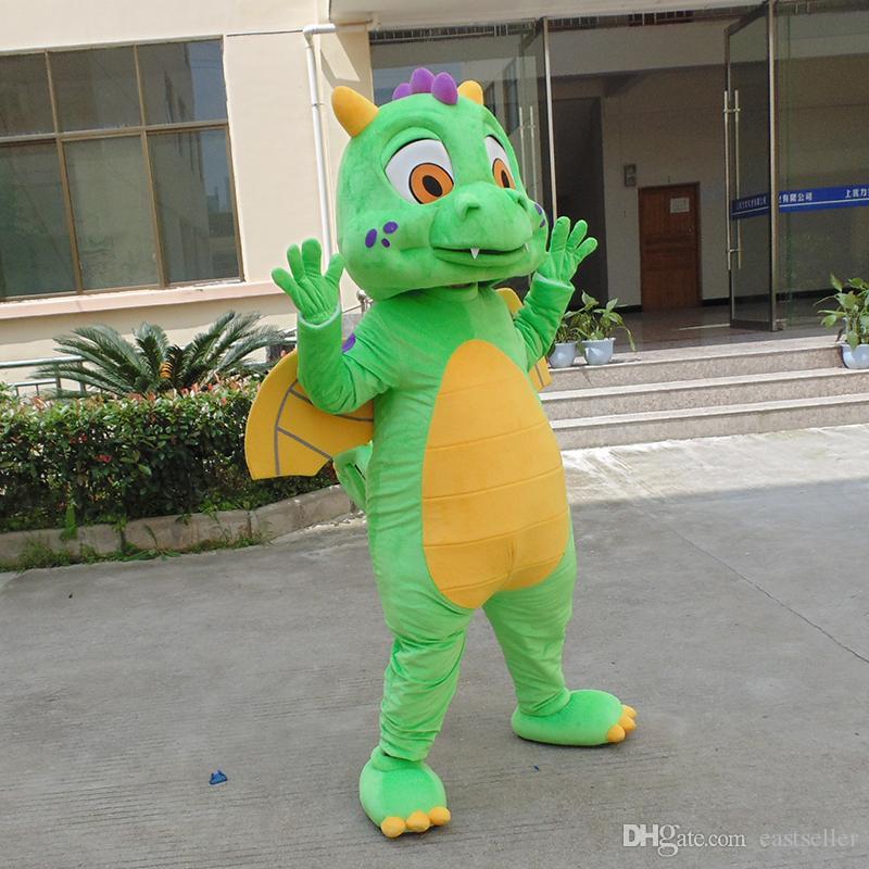 Lojas de Fábrica Super Bonito Lindo Dinossauro Verde Traje Da Mascote Dragões Fantasia Halloween Festa de Natal Vestido Frete Grátis