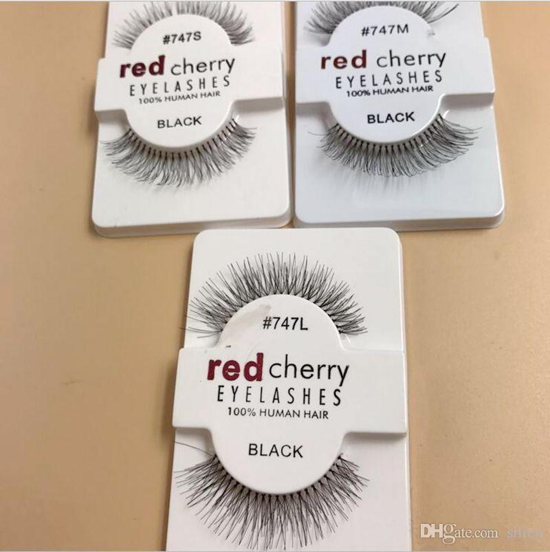 Vente chaude es rouge cerise de faux cils de faux cils 100% à la main à la main coiffure lashs faux cils s m l