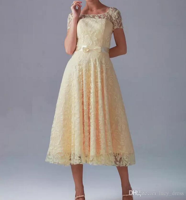 Vente chaude Robes de demoiselle d'honneur jaune Court jolie nouvelle dentelle pure encolure encolure manches courtes avec arc en cailleeau dans la longueur de thé longueur a-line fermeture à glissière