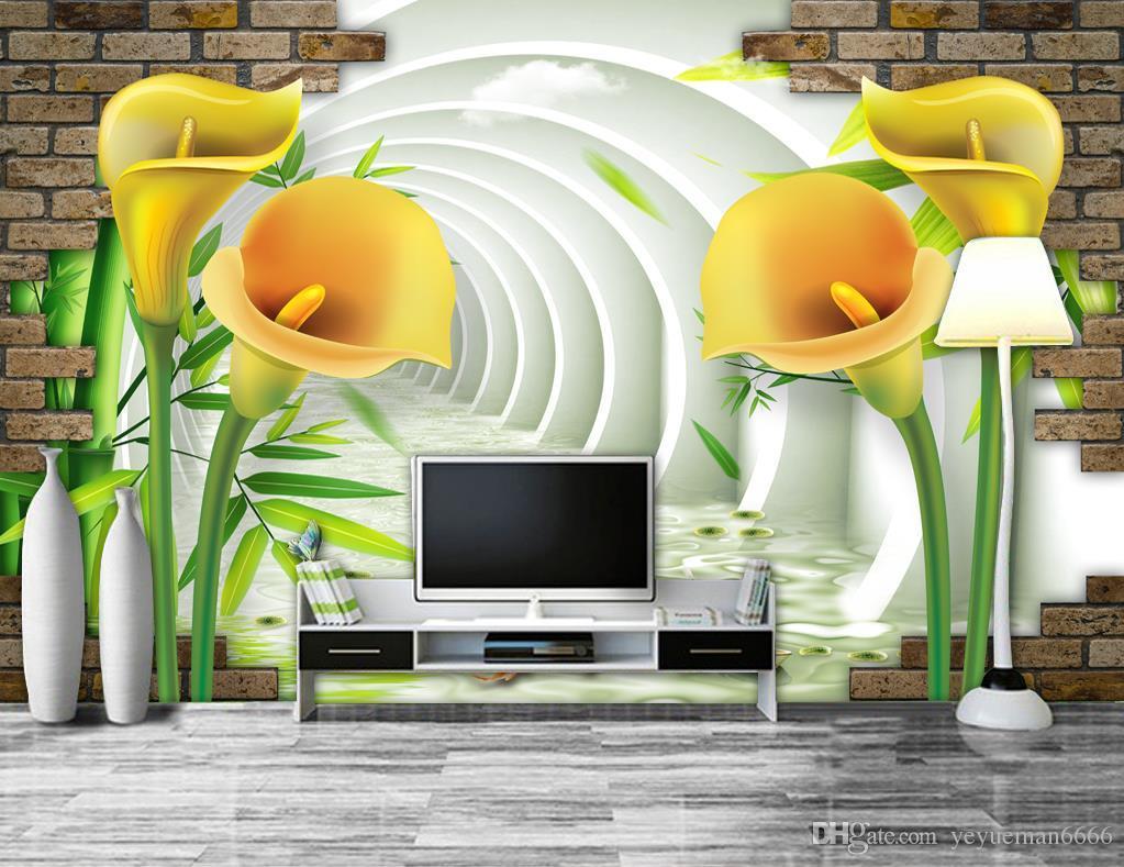 Retro papel de parede Calla Lilie Tapete für Wände 3 D Wohnzimmer Schlafzimmer Hintergrund