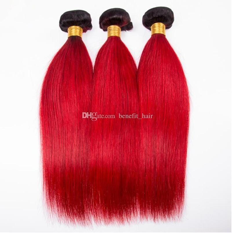 Ombre Color Rojo Recto Sedoso 3 Paquetes Virgin Hair Weaves Con Cierre Dos Tonos # 1B rojo Extensión De La Trama Del Pelo Con Cierre De Encaje