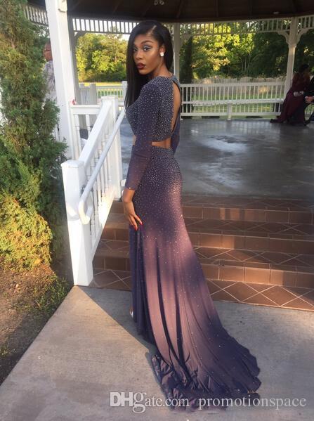 2017 아프리카 두 조각 긴 댄스 파티 드레스 보석 넥 라인 섹시한 열기 뒷면 분할 긴 소매 흑인 소녀 이브닝 파티 드레스