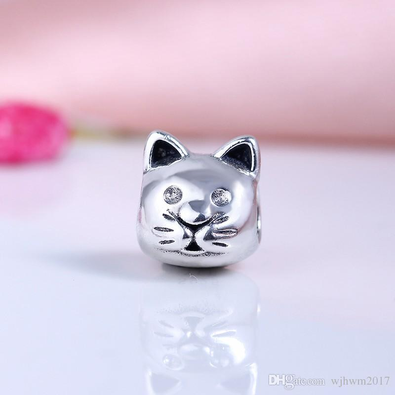 Curious Cat Charms Bead Authentic 925 Sterling Silver Vintage Animal Beads For DIY Brand Logo Bracelets Jewelry Making Accessories