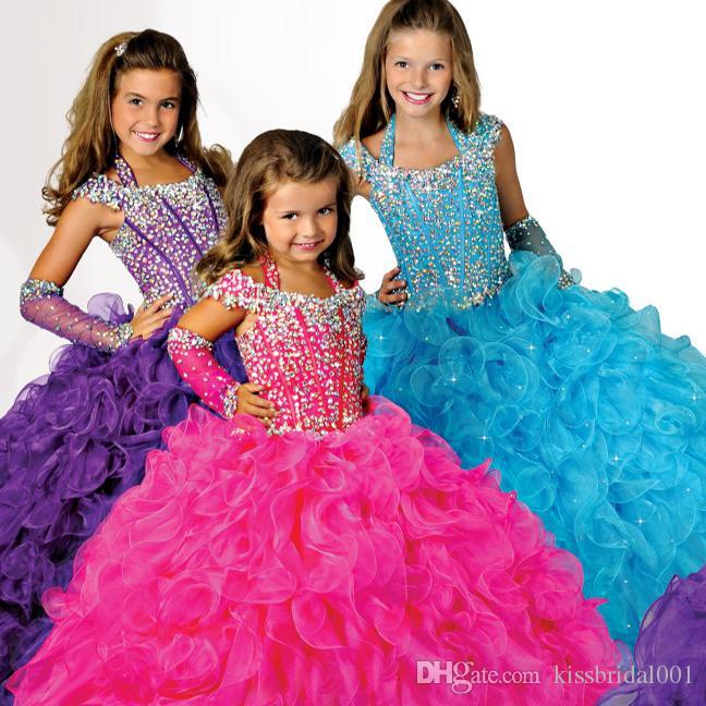 보라색 소녀의 Glitz 미식가 드레스 공 가운 Organza 꽃 걸레 드레스 손으로 만든 꽃 비즈 Crystals Tiers 유아 미인 대회 Dresse