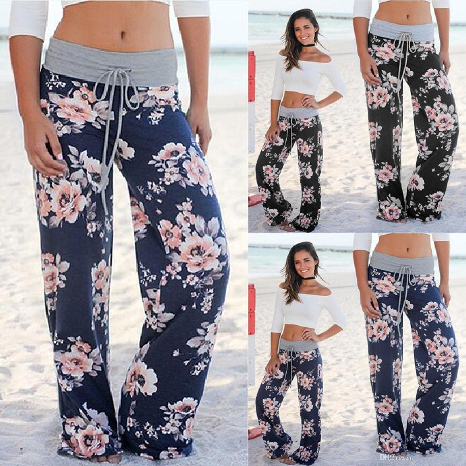 95f8cef0ff18 2019 Summer Lady Bohemian Floral Pants High Waist Wide Leg Trousers Loose  Pants Gray Black Blue Plus Size S XXXL 0486 From Happy_win_tech, $21.1 |  DHgate.