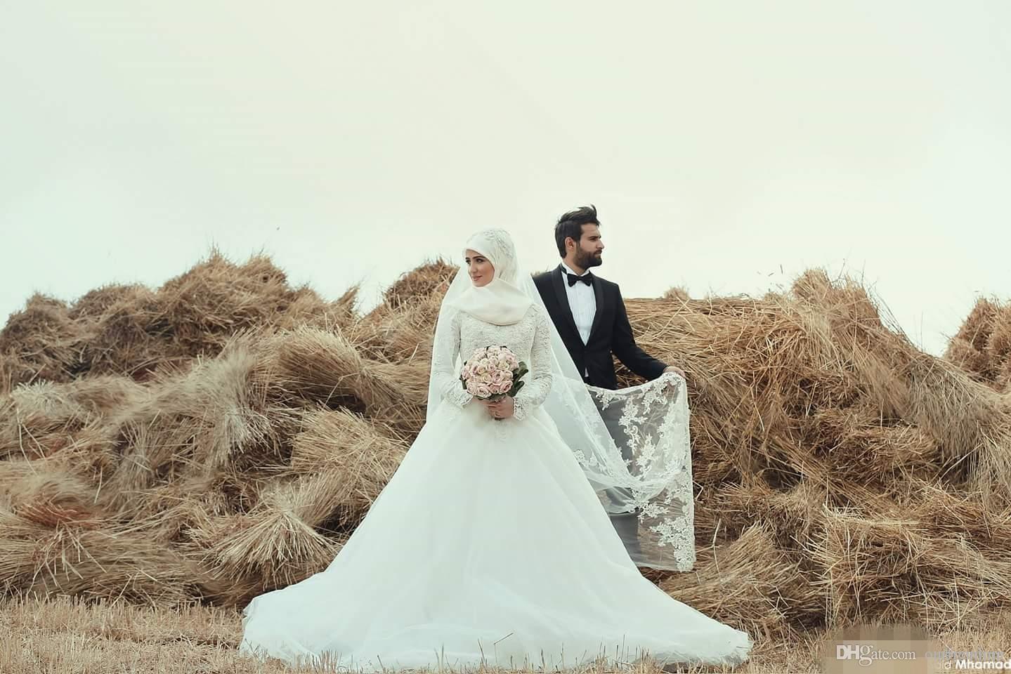 2019 Саид Мхамад с высоким вырезом Мусульманские свадебные платья с длинным рукавом и кружевными аппликациями A Line Саудовская Абая Свадебное платье на заказ Элегантный Ближний Восток