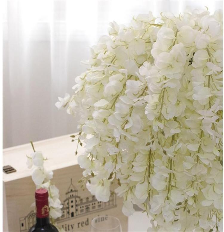 Diy artificial white wisteria silk flower for home party wedding diy artificial white wisteria silk flower for home party wedding garden floral decoration living room valentine day centerpieces table decorative flowers mightylinksfo