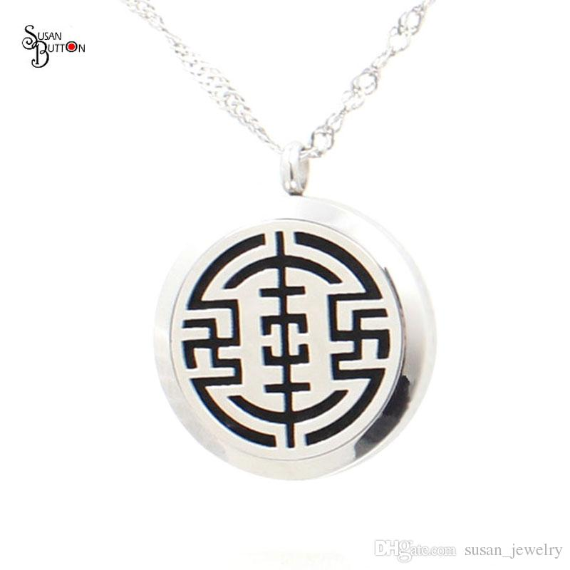 2016 New Aromatherapy Lockets 30mm Round Ying Yang Tai Chi Essential Oil Diffuser Stainless steel Perfume Locket Pendant Necklace