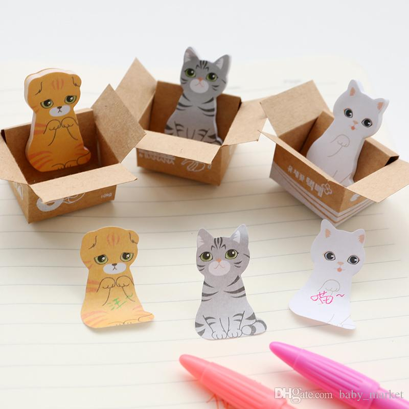 Kawaii Cute Carton Cat Kitty Memo Pads Sticky Notes Stickers Label Stick School Office Stationery Message Planner Writing.\
