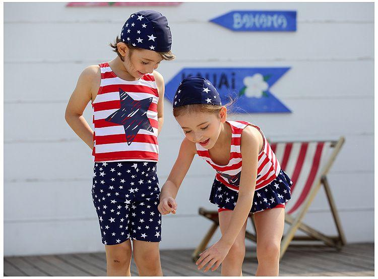 c81c7d1154f27 2017 Fashion Kid Boy And Gril Swimwear Star Pattern Swimsuit With Swimming  Cap Highly Elastic Swimwear UPF50+