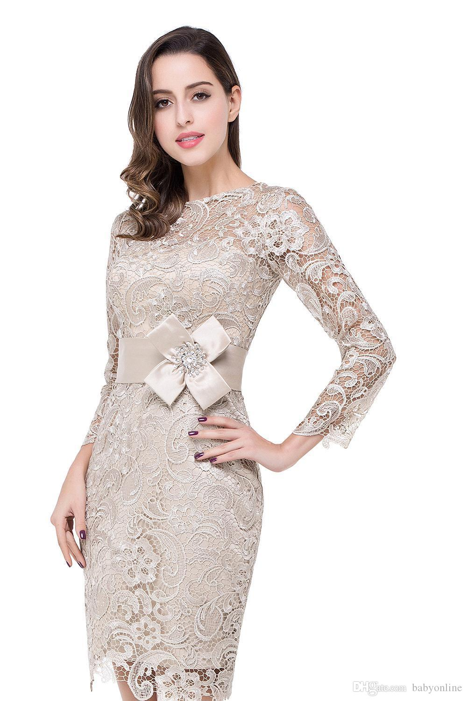 Moderne graue knielange Mutter Kleider Rundhalsausschnitt Lange Ärmel Spitze Applikationen Reißverschluss zurück mit Schärpe Mutter der Braut Formelle Abendkleider