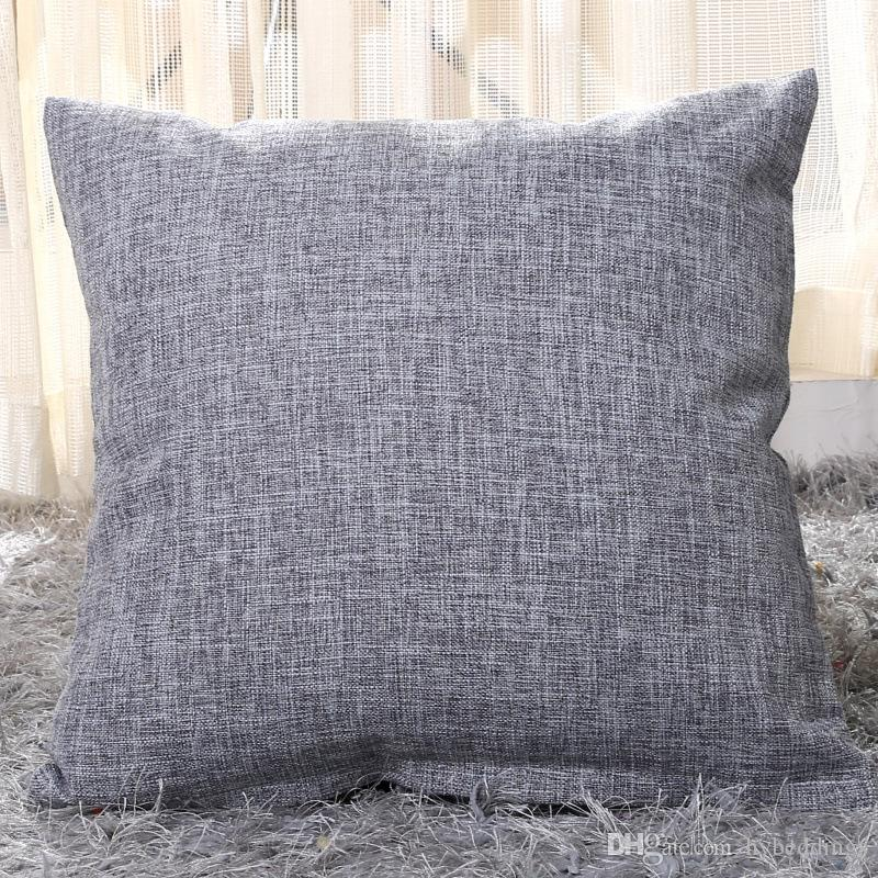Wholesale Solid Color Grey Cushion Cover Cotton Linen Square Pillowcase For  Office/Bedroom/Chair Seat Throw Pillow Cover Home Decor 24 Inch Outdoor  Cushions ...