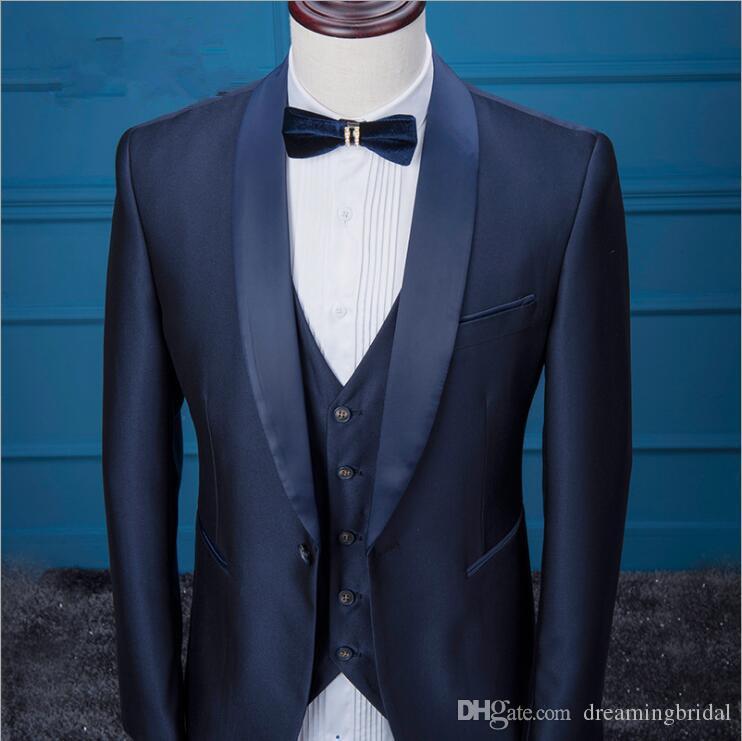 Düğün Smokin Erkekler 2017 Üç Parçalı Takım Bir Düğme Şal Yaka mens suit gelinlik Trim Fit düğün takımları Özel Yapılmış