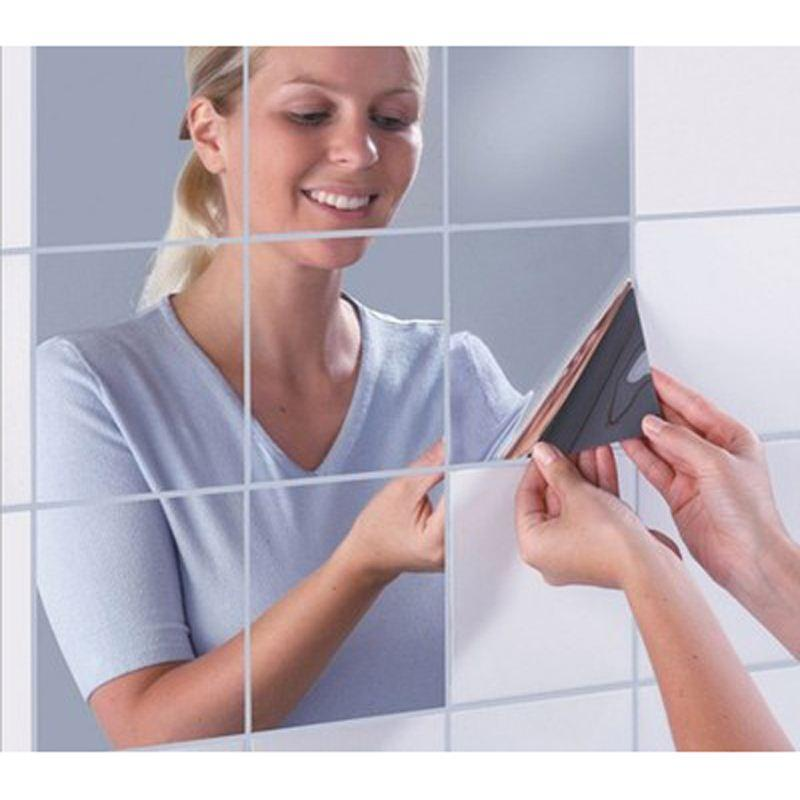 16x Mirrors Mosaic Tiles Self Adhesive Wall Stickers Hot Square Decal Stickers For Beauty Mirror Decoration