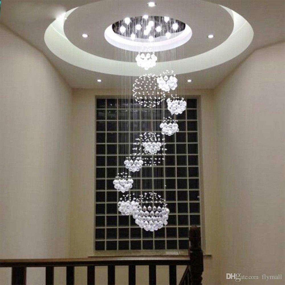 Modern Avize Lobi Merdiven için Büyük Kristal Işık Fikstürü Merdiven Fuaye Uzun Spiral Cilası Tavan Lambası Gömme Montajlı Merdiven Işık