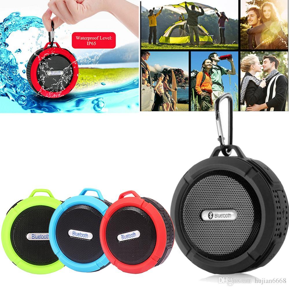 100 stücke C6 Bluetooth Lautsprecher Tragbare Saugnapf Stereo Mode Drahtlose Wasserdichte Haken Freisprecheinrichtung Mini Audio Lautsprecher mit Mic