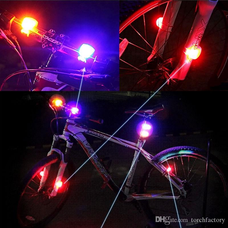 Silicone Bike Bicycle Cycling Head Front Rear Wheel LED Flash Bicycle Light Lamp black/red/White/Biue include the Big battery