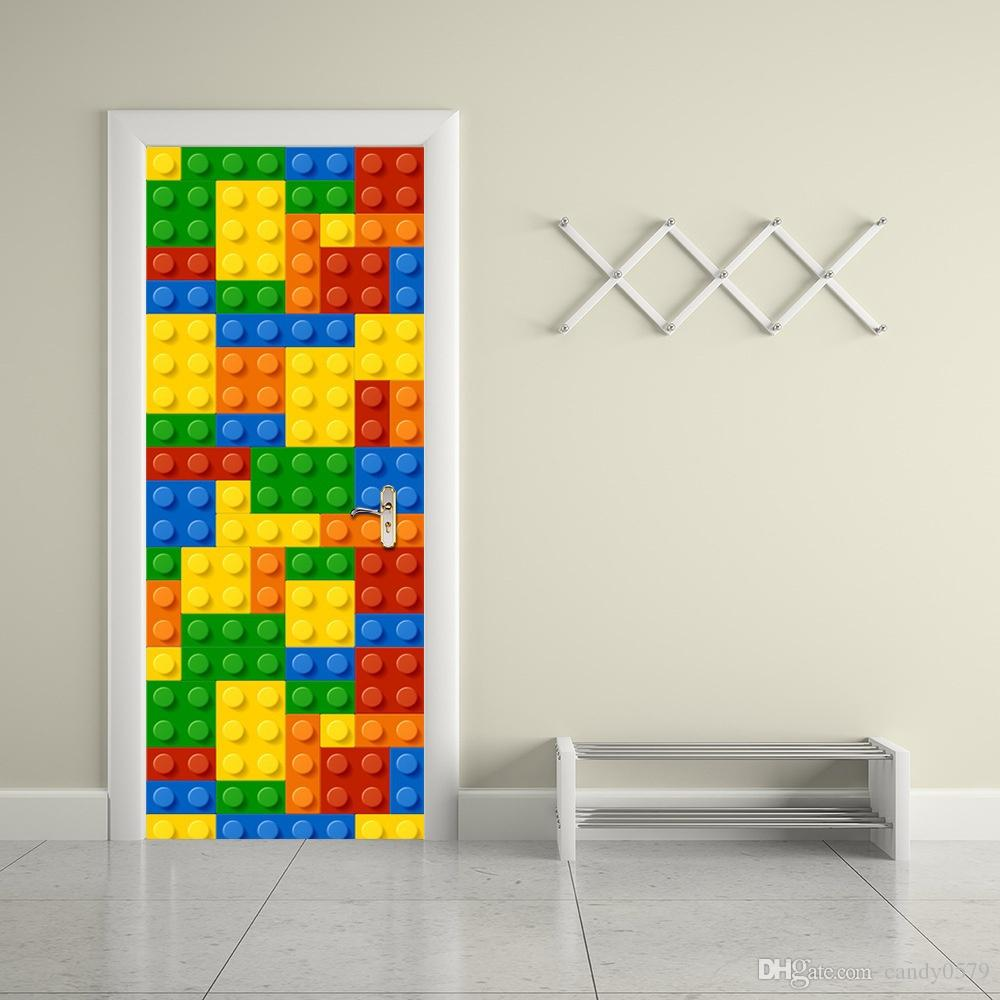 The Lego Blocks Door Stickers 3d Pvc Self Adhesive Wallpaper Waterproof Door  Decoration Stickers For Bedroom Walls Removable Stickers For Decorating  Walls ...