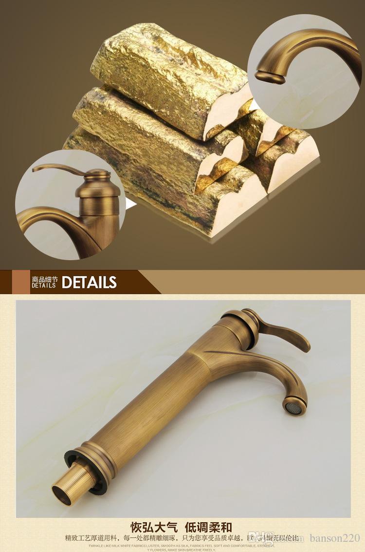 الشحن مجانا الصلبة النحاس العتيقة صنبور الحمام مع مقبض واحد ثقب واحد الحمام حوض المغسلة الحنفية