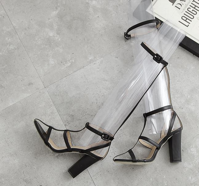 New thick high heels sandals black white T strap ankle wrap with buckle shoes white black Size 35 To 40