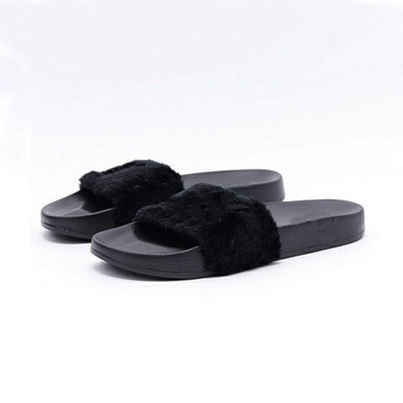 a294cbdf4 Compre Leadcat Fenty Rihanna Shoes Mujer Zapatillas Interior Sandals Girls  Fashion Scuffs Rosa Negro Blanco Gris Diapositivas De Piel Sin Caja De Alta  ...