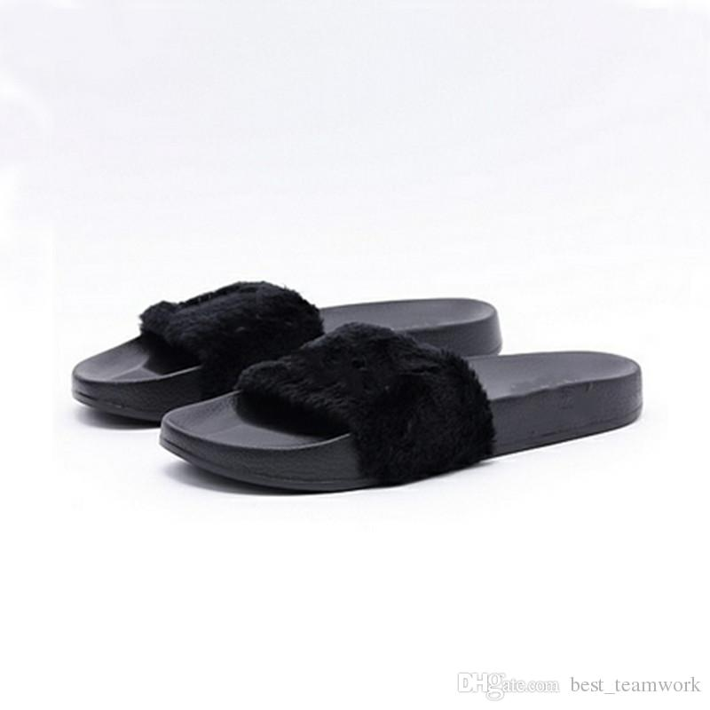 Leadcat Fenty Rihanna Shoes Women Slippers Indoor Sandals Girls Fashion Scuffs Pink Black White Grey Fur Slides Without Box High Quality