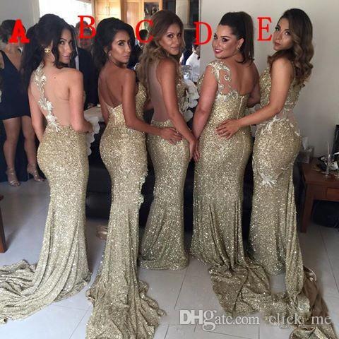 Блестящие золотые блестки Платья для подружек невесты в смешанном стилеСексуальные платья для подружек невесты Прозрачные платья для выпускного вечера с разрезом сбоку Вечерняя одежда для вечеринок