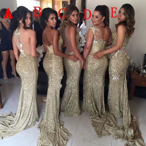Robes de demoiselle d'honneur sirène d'or Blingbling Style MixteSexy Demoiselle D'honneur Robes Sheer Retour Côté Robes De Bal Fendues Party Wear
