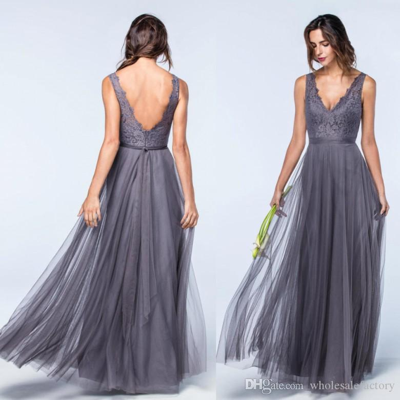 729192608c2 2017 New Designed Lace Tulle Bridesmaids Dresses For Summer Weddings A Line  V Neck Bohemian Pleats Wedding Guest Dresses Evening Gowns Maternity  Bridesmaid ...