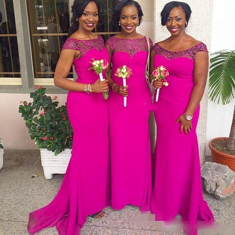 Fushia Mermaid платья подружекветовских платьев Fushia Flaeves Sheer шеи кружева плюс размер платья вечерняя одежда горничная честь африканские свадебные гостевые платья
