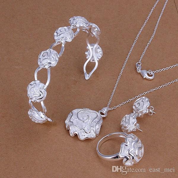 bestes Geschenk Wassertröpfchen Sterlingsilber überzogener Schmucksatz für Frauen ES218, Halsketten-Armbandohrringsatz der Art und Weise 925 Silber