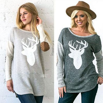 wholesale 2016 women deer elbow patch tunic tops shirts french terry suede christmas wholesale cotton t shirt create t shirts from blueberry07
