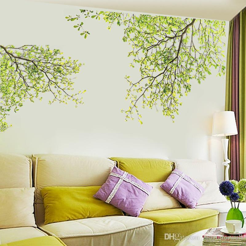 Tree Branches Wall Decor Stickers Living Room Bedroom Background Wallpaper Poster Green Scene Removable Mural Art Decals Home Decoration