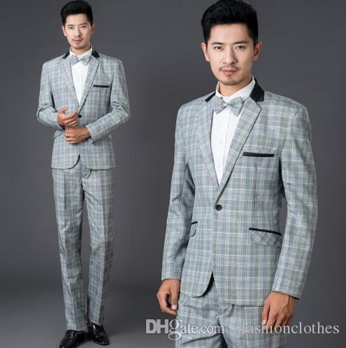 Best Grey Fashion Plaid Formal Dress Set Men Suit Latest Coat Pant