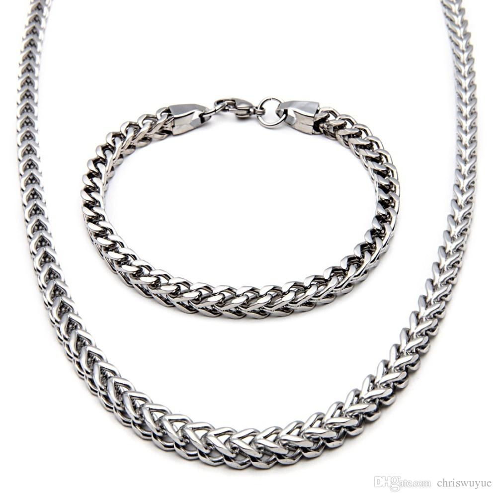 Collana con bracciale in acciaio inossidabile 316L con catena a forma di scatola unica, gioielli in argento da uomo colore collana