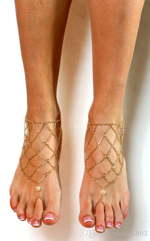 Novas sexy tornozeleiras Cadeia De Metal para as mulheres sandálias com os pés descalços tornozelo pulseiras cadeia perna de ouro no tornozelo biquíni praia pé jewerly Net tornozelo